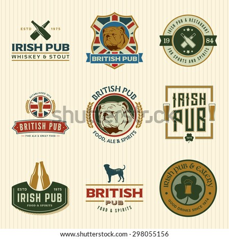 vector set of irish and british pub labels, badges and design elements