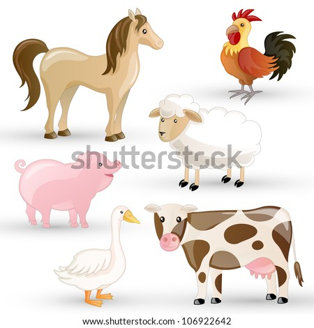 Vector Set of isolated Farm Animals - stock vector
