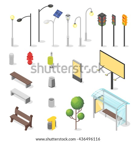 Vector set of isometric city objects. Various urban elements: bus stop, bench, traffic light.  - stock vector