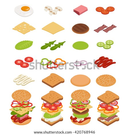 Vector set of isometric icons. Ingredients for burgers and sandwiches. Fried egg, onions, beef, cheese, cucumbers and other elements to build custom burger. Icons for fast food design. Tasty snack.