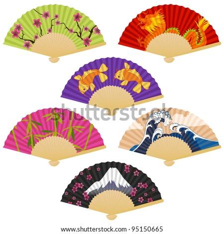 Vector Set of Japanese Folding Fans - stock vector