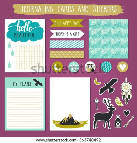 Vector set of journaling cards, stickers, labels and seamless pattern. Stylish notebook pages. - stock vector