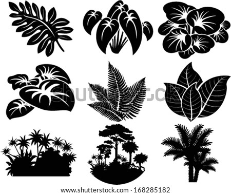 vector set of jungle icons with tropical trees, plants and leaves - stock vector
