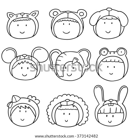 vector set of kid with animal hat - stock vector