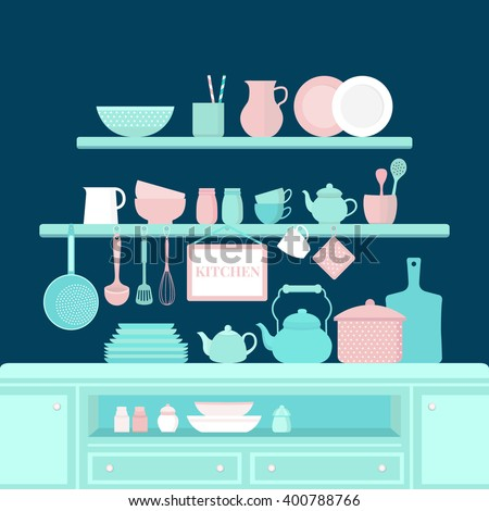 Vector set of kitchen utensils for cooking. Kitchen tools. The interior of the kitchen. Set of vector elements for the kitchen. Illustration in flat style. - stock vector