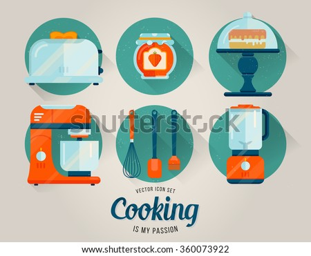 Vector set of kitchenware icon. Cooking illustration in flat style. Kitchen collection of graphic icons. Retro style. Cake. Kitchen whisk, spatula and brush. Toaster with toast. Bank of strawberry jam - stock vector