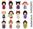Vector Set of Kokeshi Dolls - stock vector