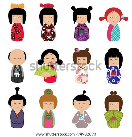 Vector Set of Kokeshi Dolls - stock vector