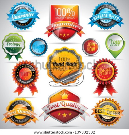 Vector set of labels and badges illustration with shiny styled design on a clear background. EPS 10. - stock vector