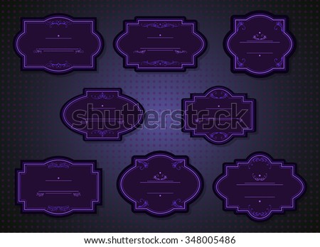 Vector set of labels and tags with frames and decorative elements. In dark blue and violet colors.