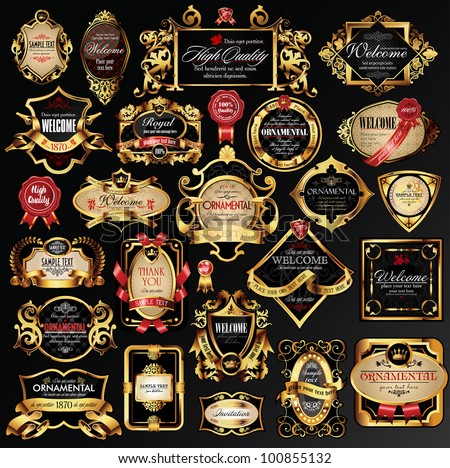 vector set of labels with gold elements. - stock vector