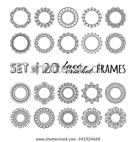 Vector Set 20 Lace Crochet Round Stock Vector 641024668 Shutterstock