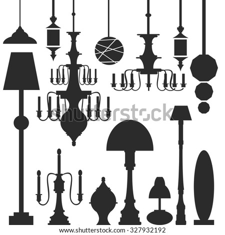 Vector set of lamps and chandeliers isolated on white background