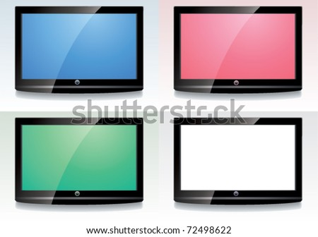 vector set of LCD screen with colorful displays