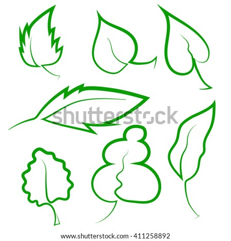 Vector Set of Leaf Icons Isolated on White Background - stock vector