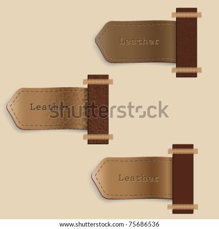 Vector set of leather  labels - stock vector