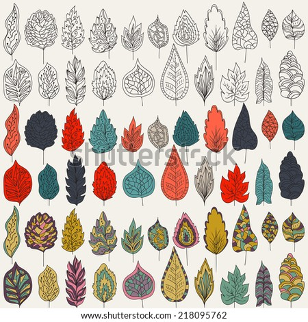 Vector set of leaves, outline, colors. Isolated on white background for seasonal design Collection of hand-drawn leaves on a white backdrop. - stock vector