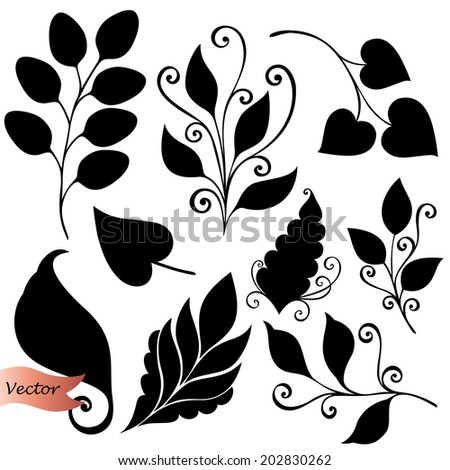 Vector Set of Leaves. Stencils Isolated on White Background - stock vector