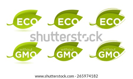 Vector set of leaves with Eco text, concept of healthy food  - stock vector