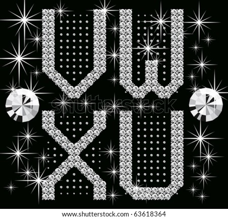 vector set of letters and numbers with diamonds - stock vector