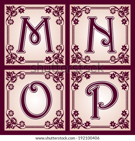vector set of letters in the European vintage style. Part 4 - stock vector