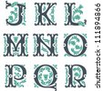 vector set of letters in the old vintage style. Part 2 - stock vector