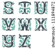 vector set of letters in the old vintage style. Part 1 - stock