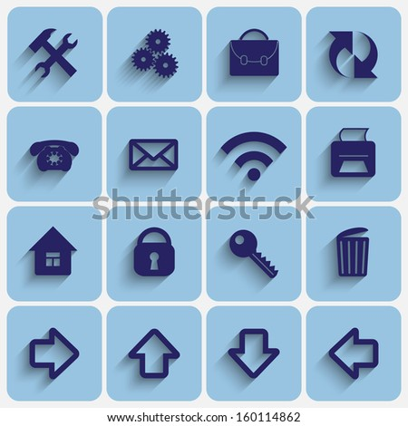 Vector Set of Light Blue Flat Style Square Buttons with Office Web site Theme