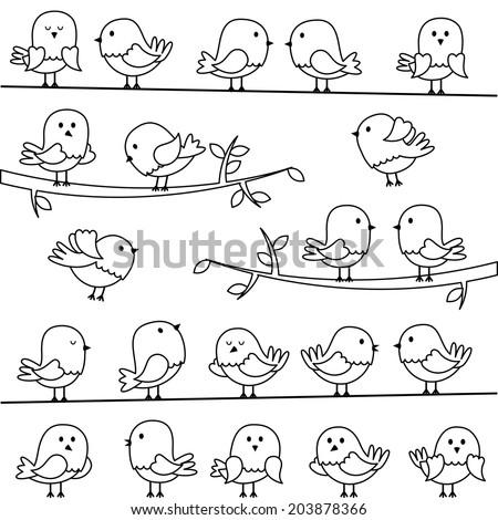 Vector Set of Line Art Cartoon Birds - stock vector
