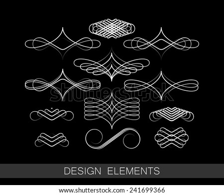 vector set of line art decorative elements for design - stock vector