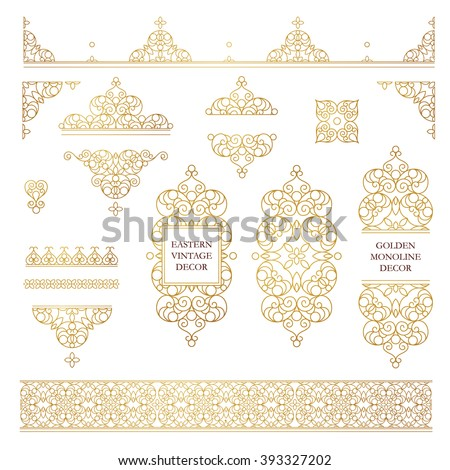 Vector set of line art frames and borders for design template. Element in Eastern style. Golden outline floral frames. Mono line decor for invitations, greeting cards, certificate, thank you message. - stock vector