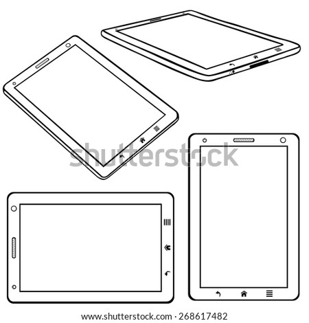 Vector Set of Line Art Tablets PC - stock vector