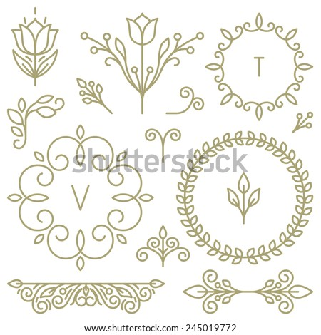 Vector set of line design elements for logos, frames and borders in modern style  - stock vector