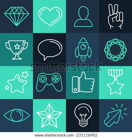 Vector set of line game icons and design elements for apps and programs - stock vector