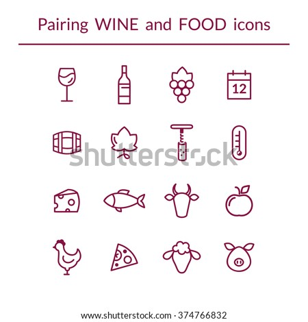 Vector set of line icons for wine and food pairing or matching, such as cheese, fish,  fruits, bottle, glass, grapes, temperature, calendar. Modern outlined style - stock vector