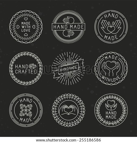 Vector set of linear badges and logo design elements - hand made, made with love and handcrafted - stock vector