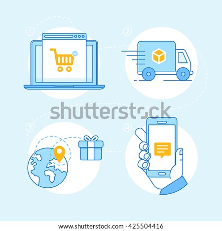 Vector set of linear flat icons and infographics design elements - internet shopping process - online shop on the screen of the laptop, tracking order, delivery and notification on mobile phone