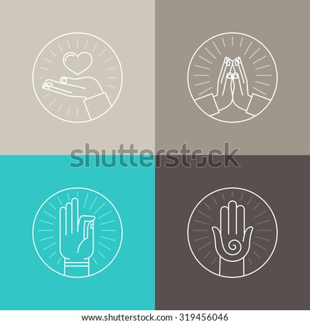 Vector set of linear icons related to religion and praying - hands and finger signs and symbols - stock vector