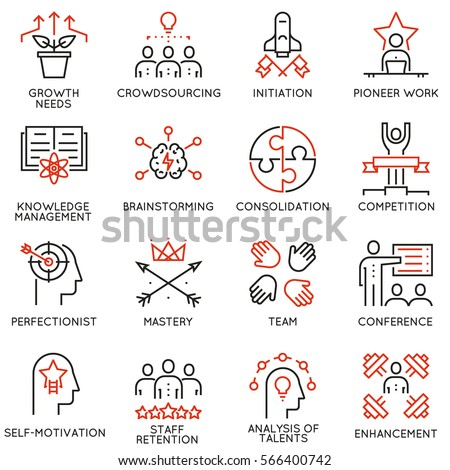 Vector set of 16 linear quality icons related to business management, strategy, career progress and business process. Mono line pictograms and infographics design elements - part 4