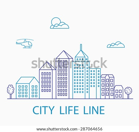 Vector set of linear urban buildings and illustrations of houses and architectural signs. For website design, business cards, invitations and flyers on the urban theme with a linear fashion graphics. - stock vector