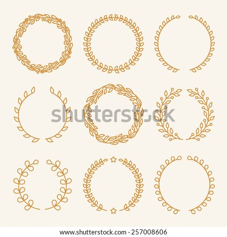 Vector set of linear wreaths - design elements for awards and templates for invitations and cards - stock vector