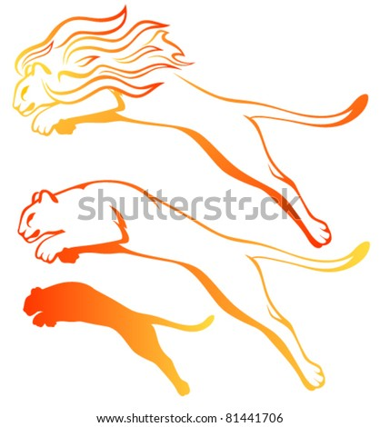 vector set of lions - fire element concept - stock vector