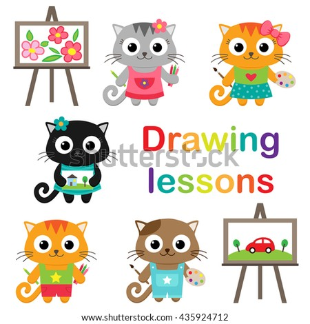 Vector set of little cats learning to draw. Drawing lessons - stock vector