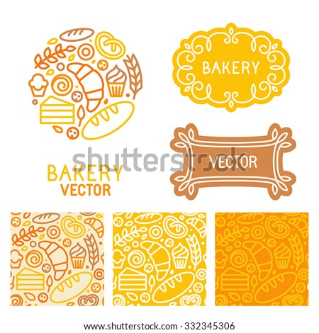 Vector set of logo design elements with icons in trendy linear icons and seamless patterns - abstract emblem for bakery, coffee shop, confectionery or sweet-shop - fresh and tasty food - stock vector