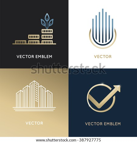 Vector set logo design templates emblems stock vector 387927775 vector set of logo design templates and emblems business and finance concepts investment and wajeb Image collections