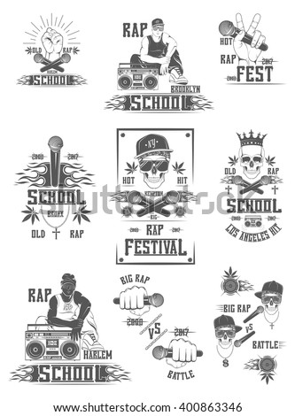 Vector set of logos for rap festival rap school, rap battles for your advertising, posters, banners, flyers. Advertisement for rap club. - stock vector
