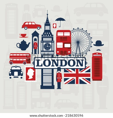 Vector set of London city - stock vector