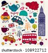 Vector set of London symbols. - stock vector
