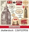 Vector set of London symbols - stock vector