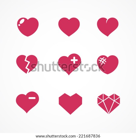 Vector set of love signs. 9 Hearts icons. White background - stock vector